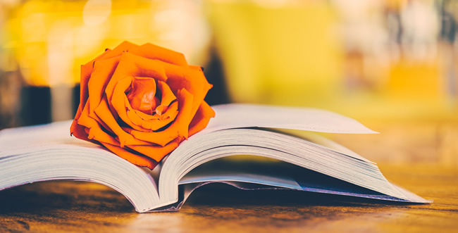 book with an orange flower on top of it