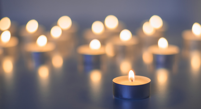 candles lit on a table